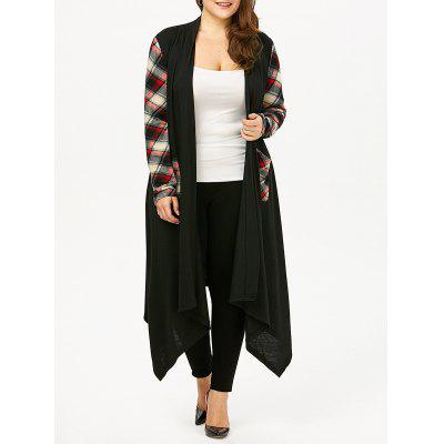 Plus Size Plaid Pocket Longline Drape Cardigan