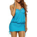 Ruched Ruffled Halter Blouson Swimsuit - LAKE BLUE