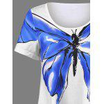 Butterfly Print Asymmetrical T-Shirt - WHITE