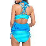 Strappy Padded Bikini Three Piece Swimsuit - LAKE BLUE
