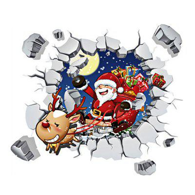 Merry Christmas Santa Claus Removable 3D Wall Stickers