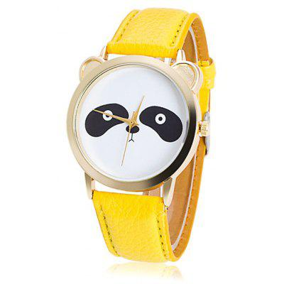 Artificial Leather Panda Quartz Watch