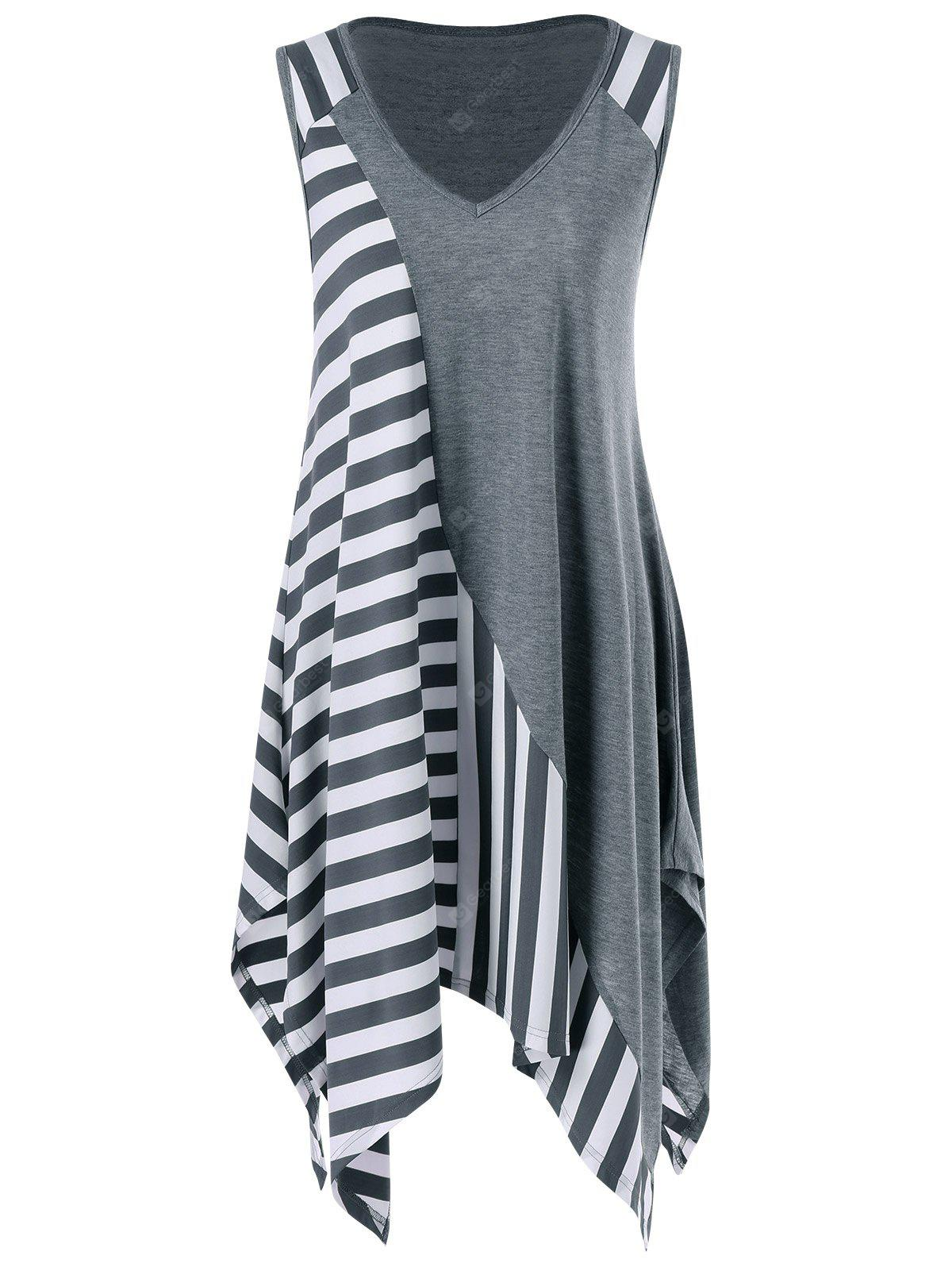 GREY AND WHITE 2XL Striped Long Handkerchief Sleeveless Flowy T-Shirt