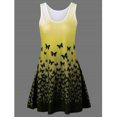 Butterfly Print Ombre Casual A Line Short Tank Robe