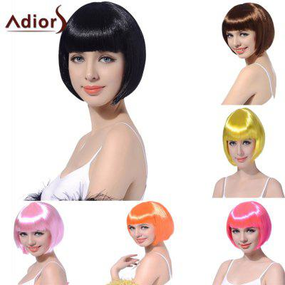 Buy BLACK Adiors Short Straight Full Bang Synthetic Bob Party Wig for $9.86 in GearBest store