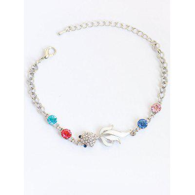 Faux Gem Goldfish Chain Bracelet