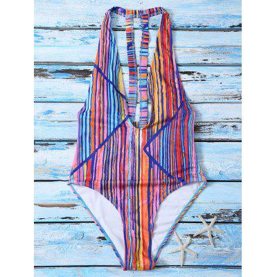 Colorful Striped Plunging Neck One Piece Swimwear