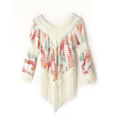 Fringed Feather Print Cover Up