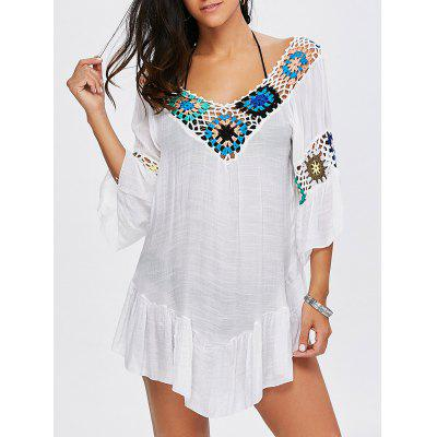 Flounce Floral Crochet Flowy Tunic Cover-Up