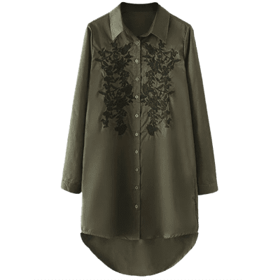 Buy ARMY GREEN L High Low Floral Embroidered Shirt Dress for $26.80 in GearBest store