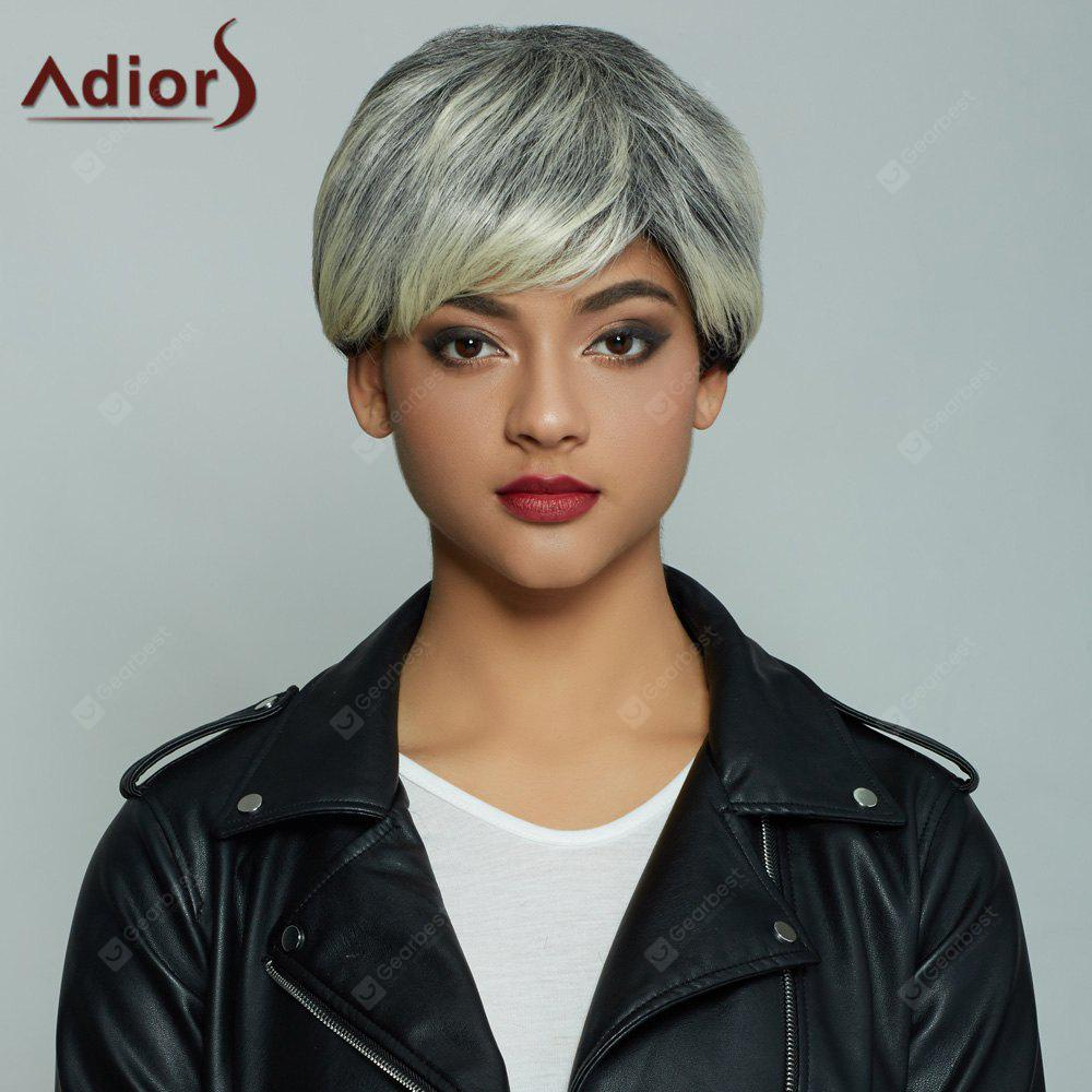 Adiors Short Pixie Cut Full Bang Straight Mixcolor Synthetic Wig