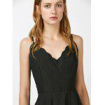 Scalloped Open Back Mini Slip Dress - BLACK