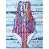 Colorful Striped Plunging Neck One Piece Swimwear - COLORMIX