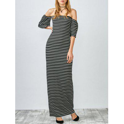 Slinky Striped Off The Shoulder Long Dress