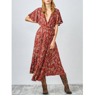 Printed Flutter Sleeve Midi Wrap Dress
