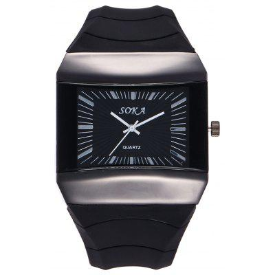 Buy BLACK Silicone Strap Square Analog Watch for $11.72 in GearBest store