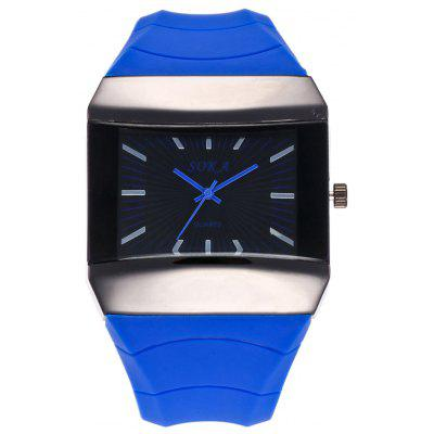 Buy BLUE Silicone Strap Square Analog Watch for $11.72 in GearBest store
