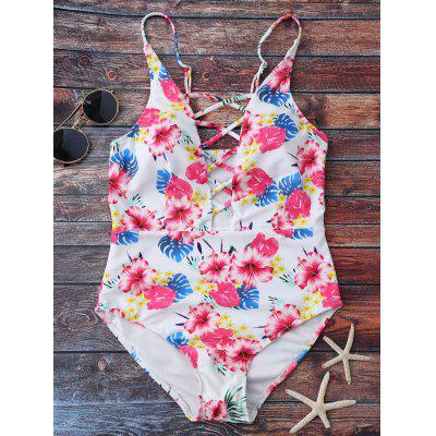 Floral Print Lace Up One Piece Swimsuit