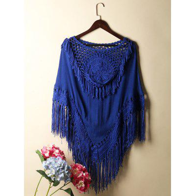 Fringed Crochet Batwing Sleeve Tunic Cover-Up