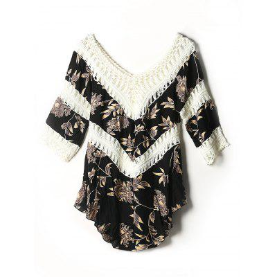 Asymmetric Printed Crochet Cover-Up