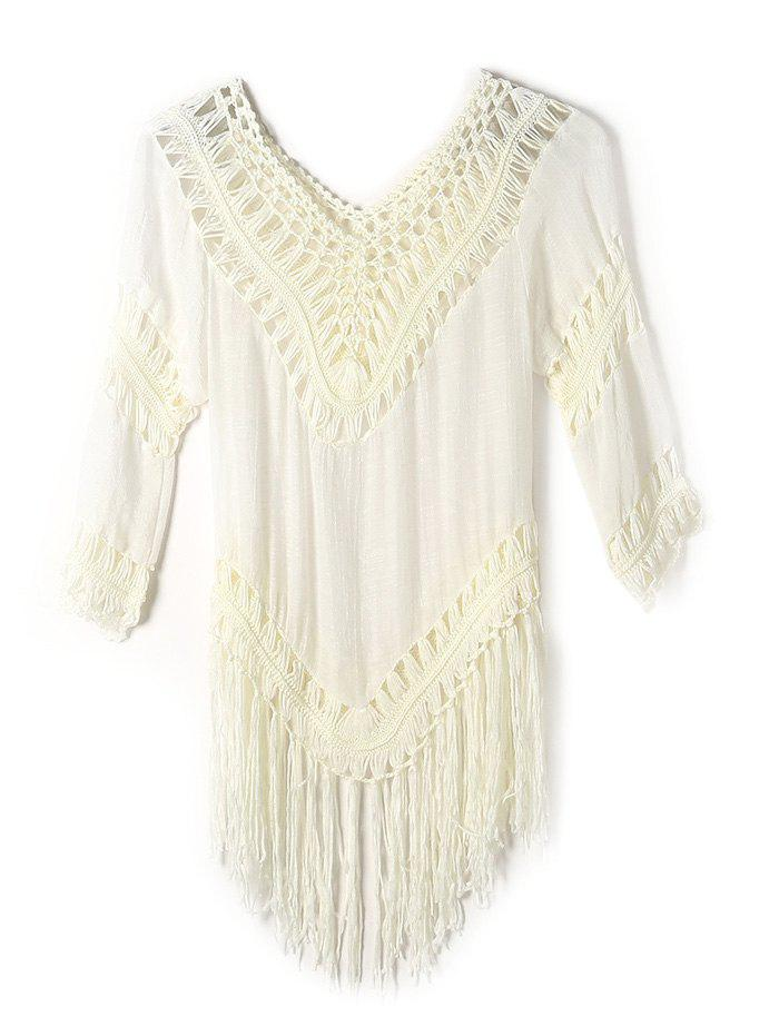 Openwork Fringe V Neck Tunic Crochet Cover-Up