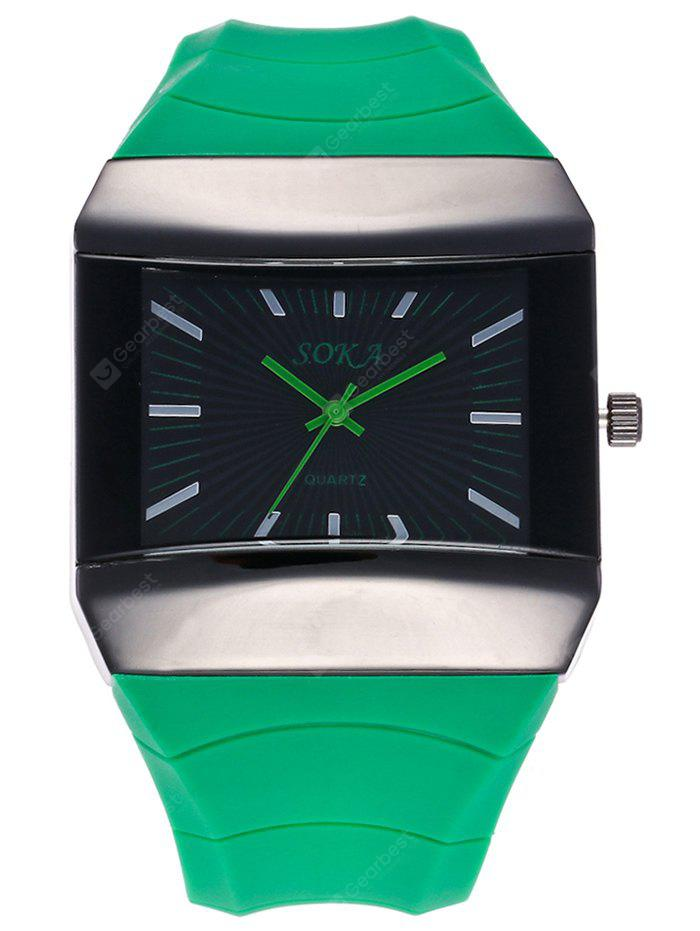 GREEN Silicone Strap Square Analog Watch