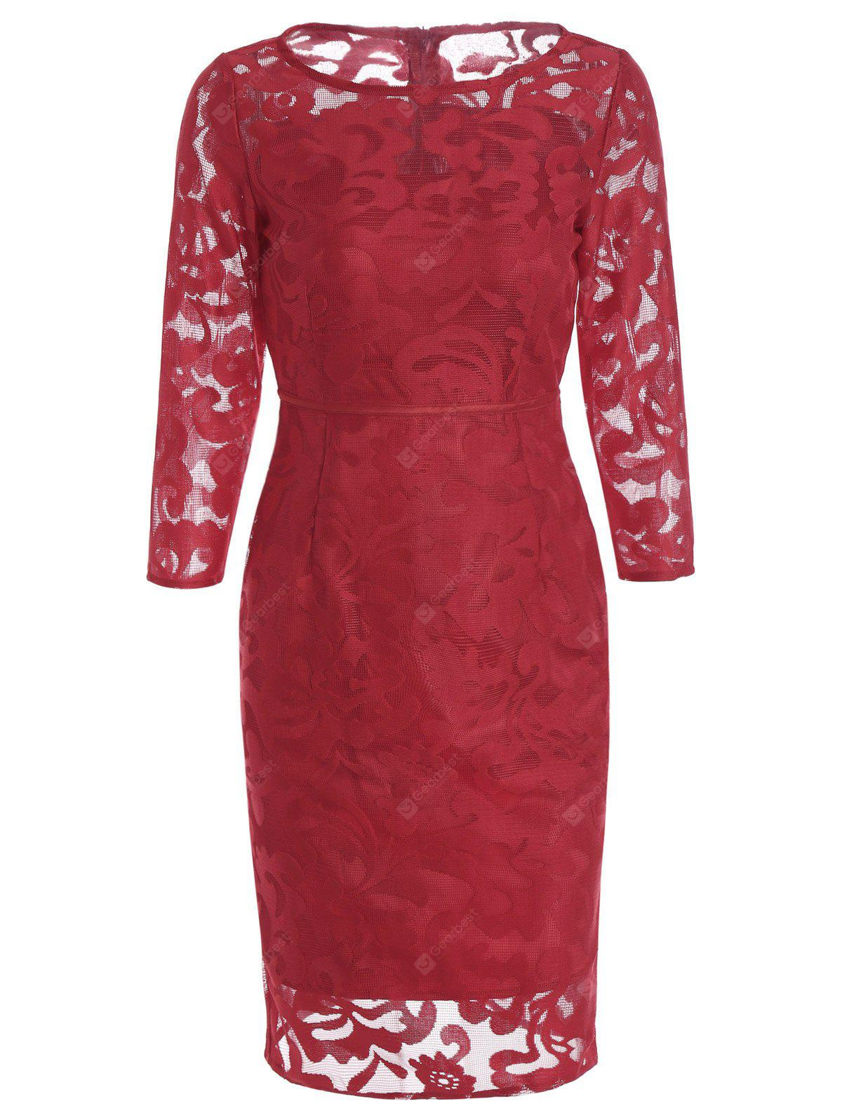RED M Openwork Semi Sheer High Waist Sheath Dress