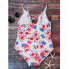 Floral Print Lace Up One Piece Swimsuit - FLORAL