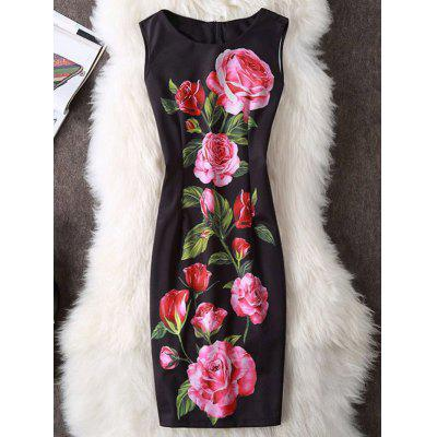 Buy BLACK S Rose Print Sleeveless Sheath Dress for $19.70 in GearBest store