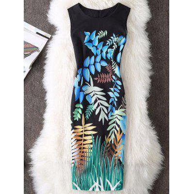 Buy BLACK L Foliage Print Sleeveless Sheath Dress for $19.70 in GearBest store