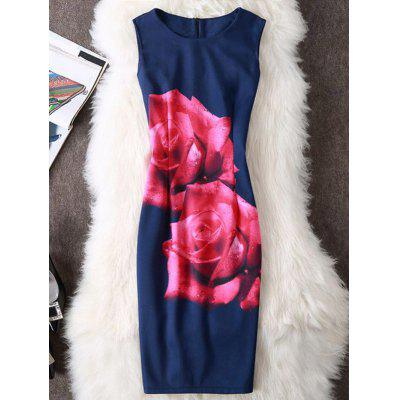 Buy CERULEAN M Rose Print Sleeveless Pencil Dress for $19.70 in GearBest store