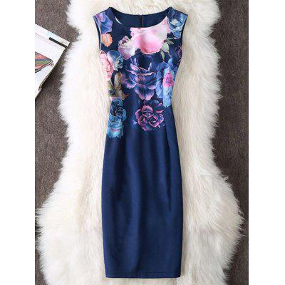 Buy DEEP BLUE L Floral Print Sheath Sleeveless Dress for $19.70 in GearBest store