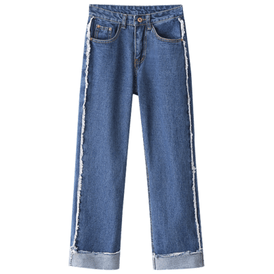 Buy LIGHT BLUE L Cuffed Loose Jeans for $26.36 in GearBest store