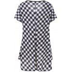 Plus Size Plaid T-Shirt with Button - CHECKED