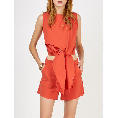 Knotted Asymmetrical Top and Shorts Twinset