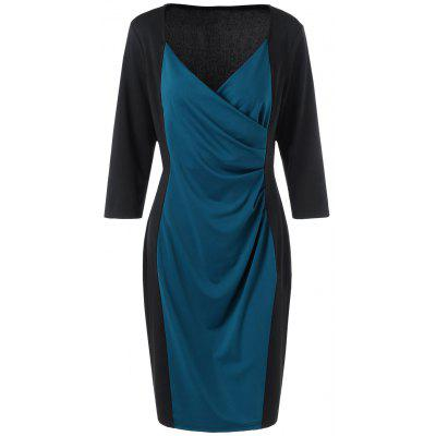 Buy BLUE AND BLACK XL Two Tone Plus Size Long Sleeve Sheath Surplice Dress for $17.03 in GearBest store