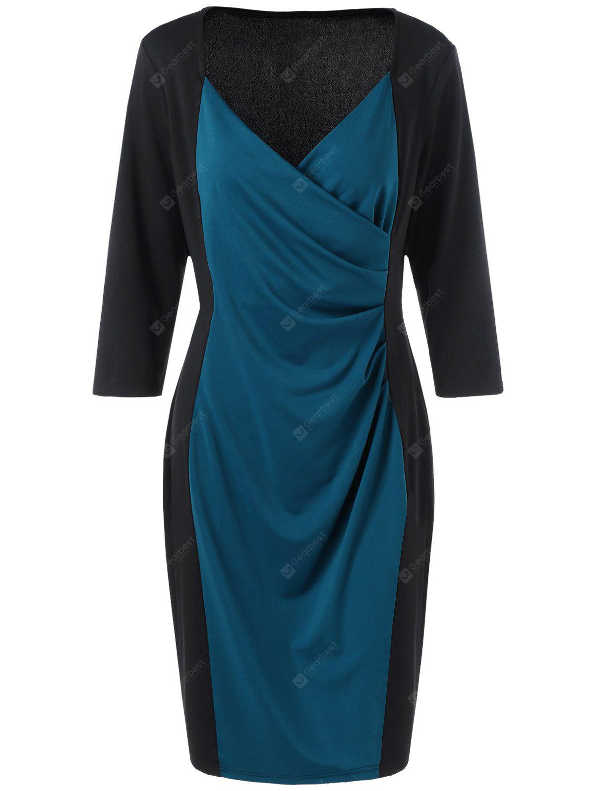 BLUE AND BLACK 3XL Two Tone Plus Size Long Sleeve Sheath Surplice Dress