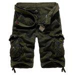 Zipper Fly Camouflage Stud Embellished Cargo Shorts - ARMY GREEN