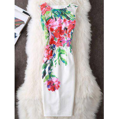 Buy WHITE XL Floral Print Slit Sleeveless Sheath Dress for $19.70 in GearBest store