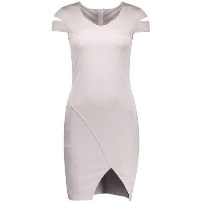 Buy PEARL GREY M V Neck Cut Out Slit Bodycon Dress for $17.74 in GearBest store