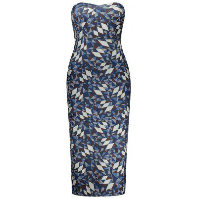 Buy COLORMIX S Geometric Print Bodycon Tube Dress for $24.88 in GearBest store