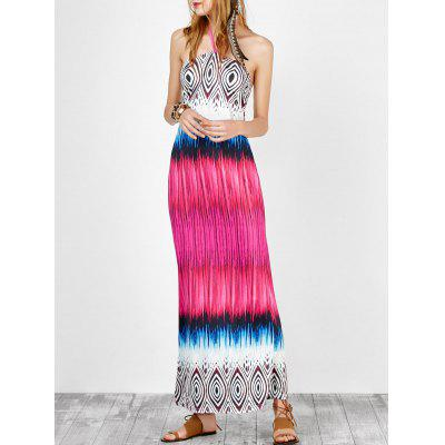 Buy COLORMIX L Halter Open Back Printed Maxi Dress for $19.00 in GearBest store