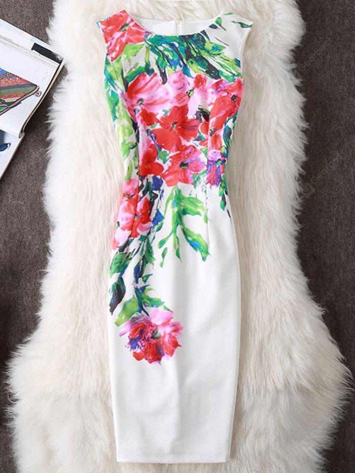 WHITE S Floral Print Slit Sleeveless Sheath Dress
