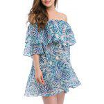 Off The Shoulder Ruffle Print Mini Beach Dress - LIGHT BLUE