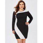 Plus Size Two Tone Fitted Sheath Dress - WHITE