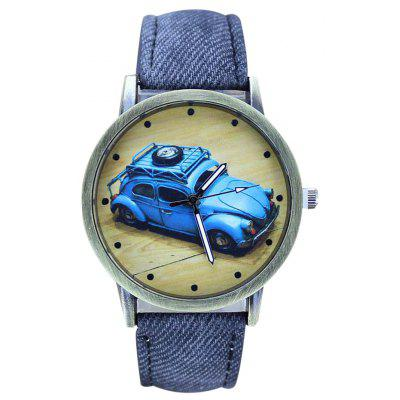 Buy BLUE Faux Leather Car Pattern Analog Watch for $6.57 in GearBest store