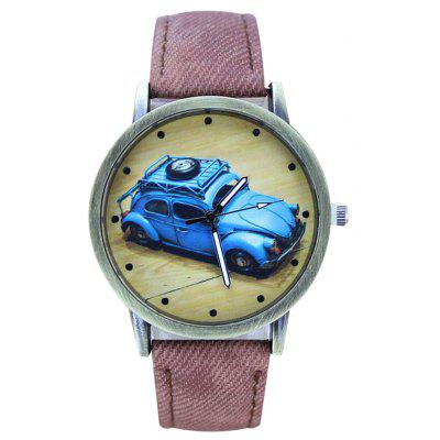 Buy PINK Faux Leather Car Pattern Analog Watch for $6.57 in GearBest store