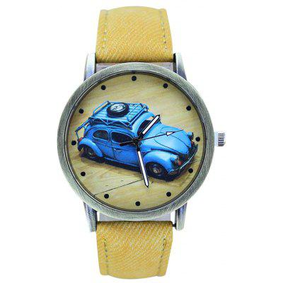 Buy YELLOW Faux Leather Car Pattern Analog Watch for $6.57 in GearBest store