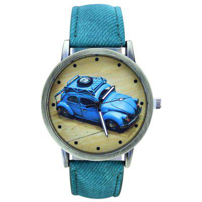 Buy GREEN Faux Leather Car Pattern Analog Watch for $6.57 in GearBest store