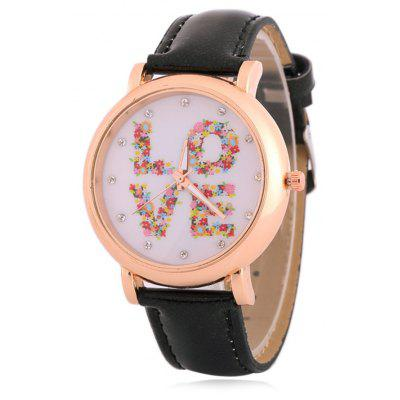 Buy BLACK Fuax Leather Rhinestone Floral Love Watch for $8.66 in GearBest store